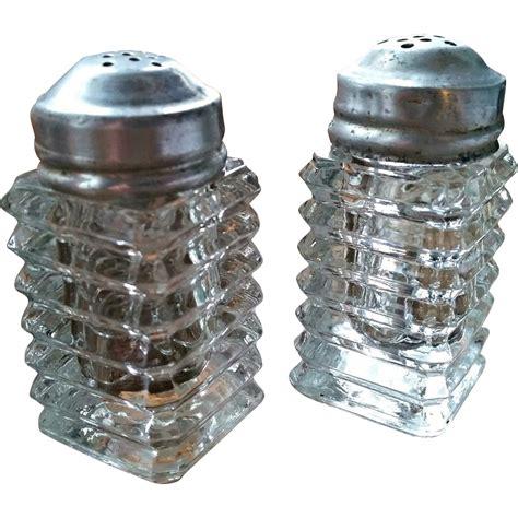 Salt And L by Manhattan Depression Glass Salt Pepper Shaker Set