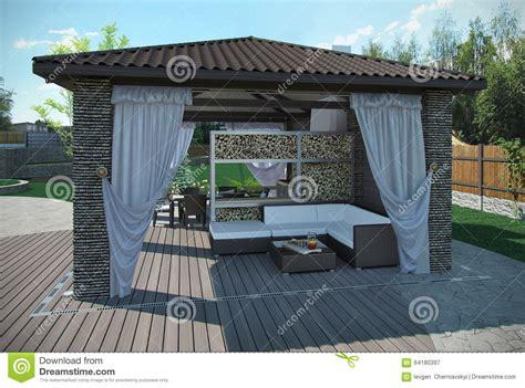 Sofa Arrangement Ideas by Outdoor Patio Garden Pavilion 3d Render Stock