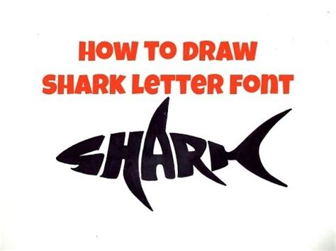 shark party font how to draw shark letter font more projects to try