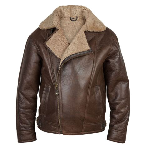 Jaket Bomber Pilot By A P M s antique shearling sheepskin style leather pilot