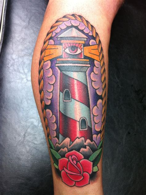resurrection tattoo traditional lighthouse with all seeing eye by jeff