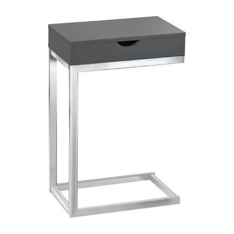 Gray Accent Table Accent Table In Glossy Gray With Drawer I 3032
