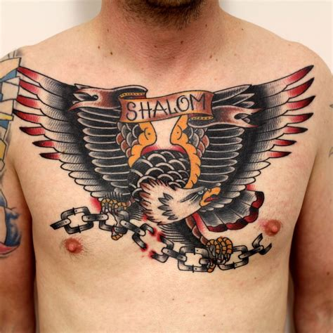 american traditional chest tattoo tomtom traditional eagle chest