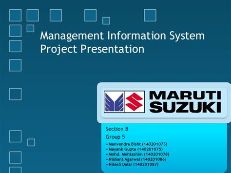 Information Systems Mba Projects by Management Information Systems In Maruti Suzuki