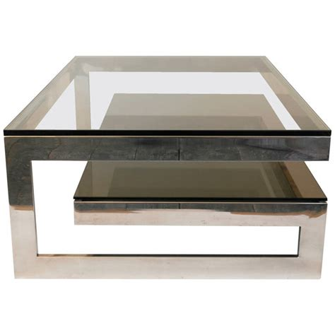 Chrome And Glass Coffee Tables Cantilevered G Mirror Chrome Coffee Table With Smoke Glass Tiered Shelf