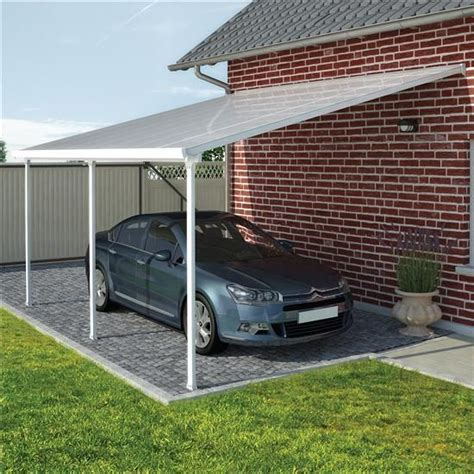 Aluminum Car Port by Palram Feria White Aluminum Lean To Carport Patio Cover