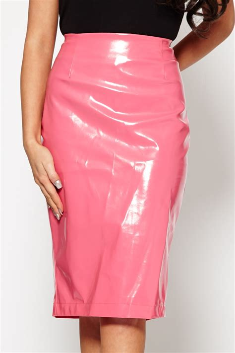 bright pink pvc midi skirt from dollywood boutique uk