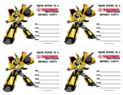Transformers Birthday Invitations Template transformers birthday invitations all free printable