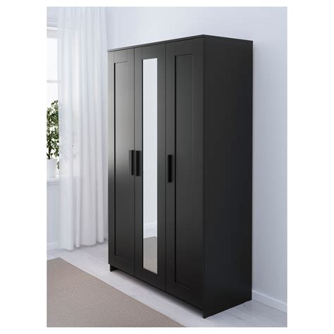 Brimnes 3 Door Wardrobe brimnes wardrobe with 3 doors black 117x190 cm ikea
