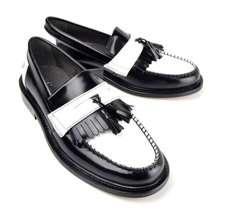 two tone tassel loafers black white tassel loafers the prince mod shoes
