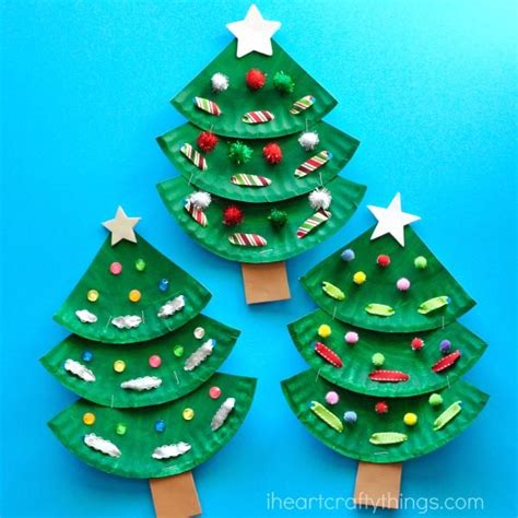 paper plate christmas art paper plate tree craft kid crafts crafts and