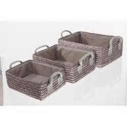 3 paniers de salle de bain osier taupe achat vente