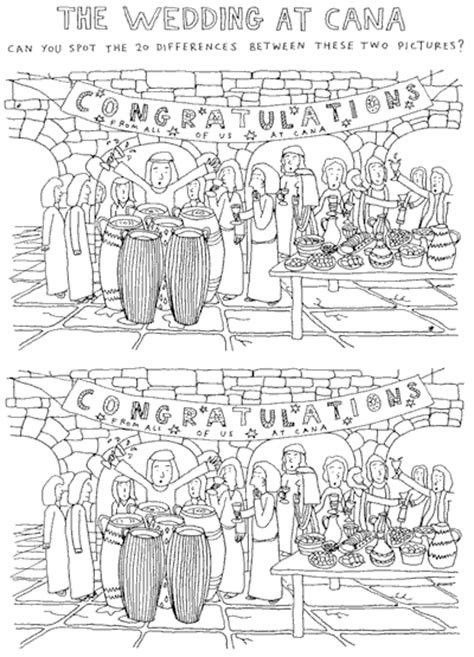 Wedding At Cana Activity Sheets by Wedding At Cana Spot The Difference Dave Walker