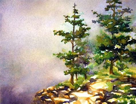 watercolor artist tutorial acadia pines painting demonstration by jennifer branch