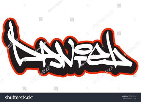 name style design daniel graffiti font style name hiphop stock vector