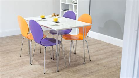 White Dining Table And Coloured Chairs Funky White Gloss Kitchen Dining Table Trendy Coloured Chairs Seats 4