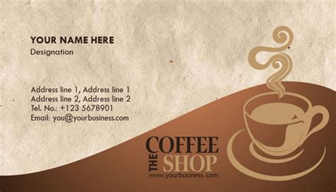 Coffee Shop Business Card Template by Photoshop Coffee Business Cards Design