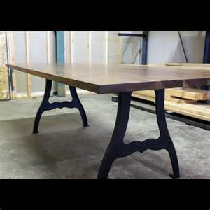 Industrial Dining Table Legs Black Walnut And Cast Iron Machine Leg Dining Table Industrial Dining Tables Los Angeles