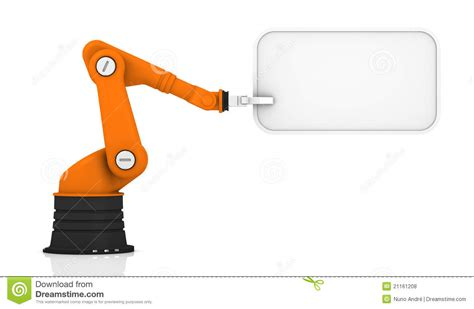 Arm Robot Only Frame 1 robotic arm holding tag stock illustration image of note
