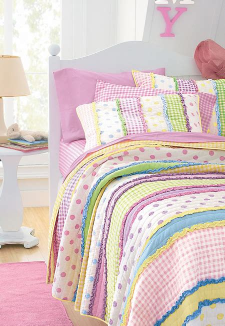 girls quilt bedding little girls dottie quilt striped polka dot gingham