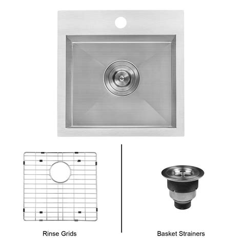 16 stainless steel sink drop in ruvati 15 in drop in single bowl 16 stainless steel