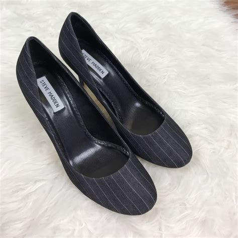 Steve Madden 9 5 by 66 Steve Madden Shoes Steve Madden Gray Pinstripe Heels Size 9 5 From Jaime S Closet On