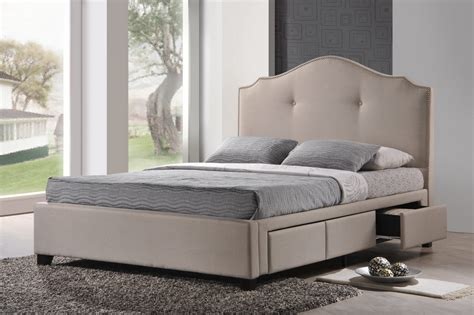 armeena beige linen modern storage bed with upholstered