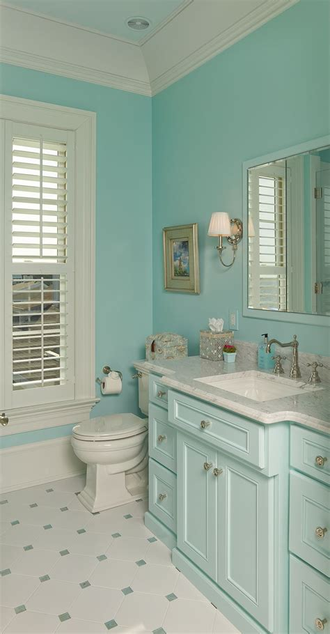 aqua paint colors for coastal bathroom with aqua blue cabinets and white trim artenzo