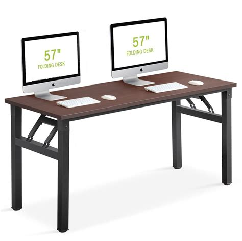 Folding Office Desk Computer Desk Tribesigns 57 Inch Folding Office Desk Workstation No Assembly Required For
