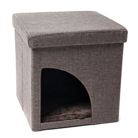 cat cube bed favorite soft portable opening cat play cube bed brown coolkittycondos