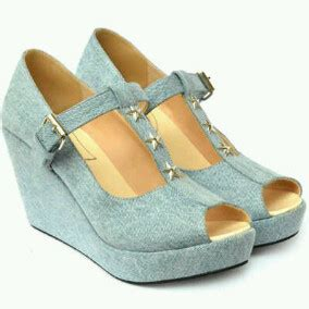 Wedges Glossy Pita wedges denim laalashoes