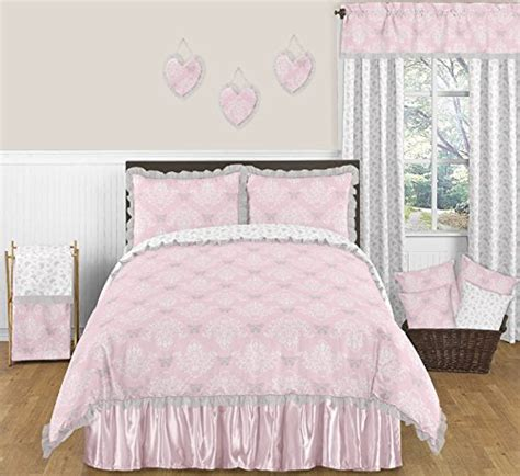 pink gray and white shabby chic alexa damask butterfly 3 piece girls full queen bedding set