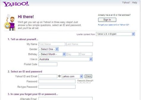 email yahoo sign up yahoo email account info page sign up and login to your