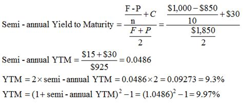 exle of yield to maturity yield to maturity ytm approximation formula finance