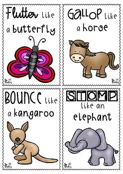 printable animal movement cards animal movement cards set 1 by top teacher teachers