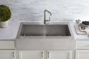 farmhouse fast fix kohler adds top mount self trimming apron front kitchen sink to vault collection