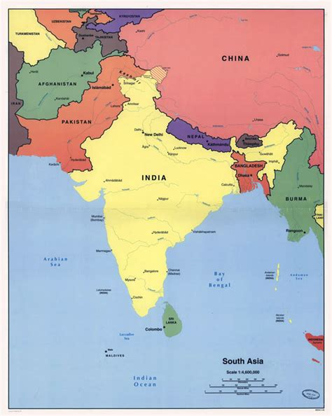 big map of asia large detailed political map of south asia 1998