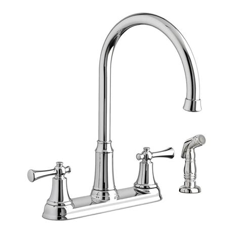 american standard portsmouth 2 handle standard kitchen faucet with side sprayer in polished