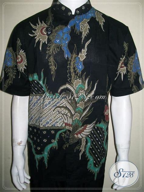 Kemeja Pria Lengan Panjang Hitam Pekat Kerah Shanghai Kantor Casual baju batik koko pria kerah shanghai modern batik tulis