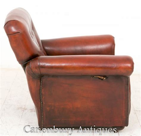 reclining leather club chair art deco reclining leather club chair arm chairs 1930 ebay