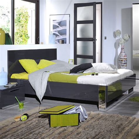 Bedroom Furniture Grey Gloss Sinatra Contemporary Grey High Gloss Finish King Size Bed