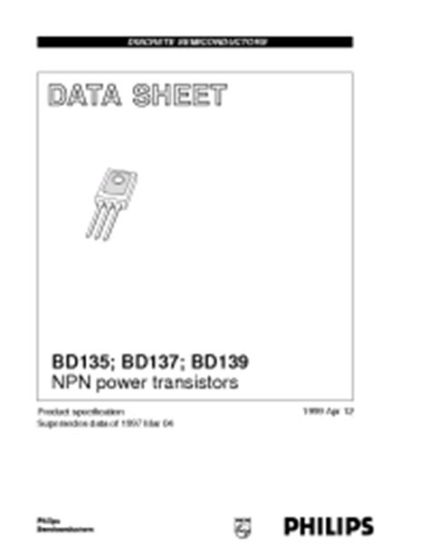 datasheet transistor npn bd137 bd137 philips npn power transistors