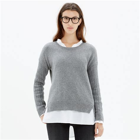 Hoodie Jumper Rebel8 Grey lyst madewell texturemix pullover sweater in gray