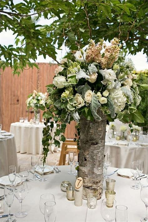 Stump Decorations 20 Rustic Wedding Centerpieces With Bark Container Deer