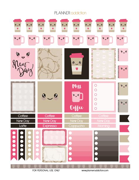 printable kawaii planner stickers coffee kawaii planner addiction printable planner