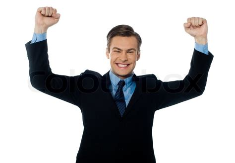 Crowe S Success Mba Internship by Businessman Celebrating Success With Arms Up Stock Photo