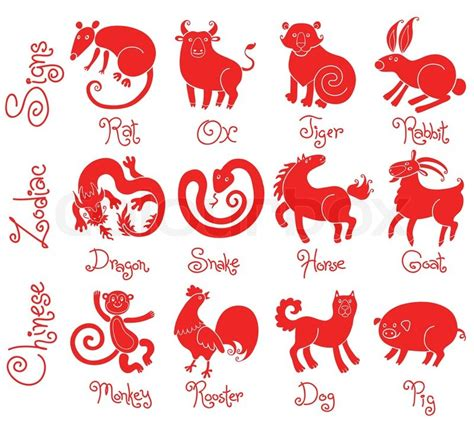 new year animals vector illustrations or icons of all twelve zodiac