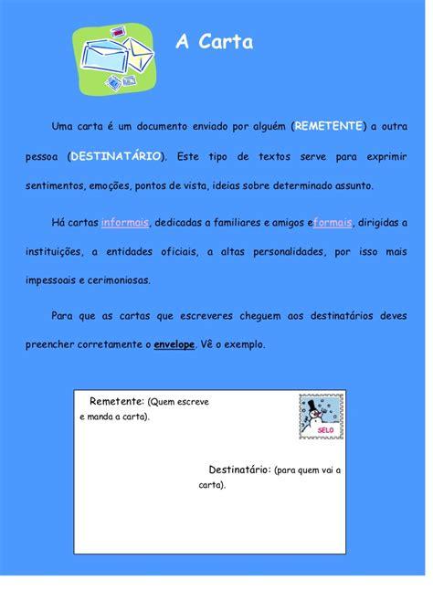 Carta Formal E Informal 8o Ano A Estrutura Da Carta
