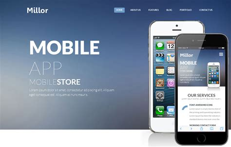 mobile application template millor a mobile app based flat bootstrap responsive web