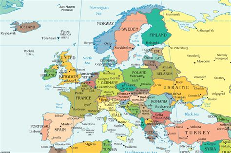 europe map cities  countries major tourist